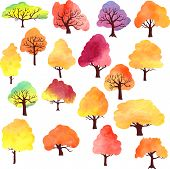 set of different autumn trees by watercolor