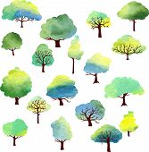 set of different trees by watercolor