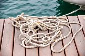 skein of rope on the mooring
