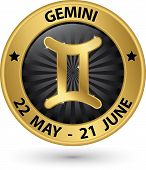 Gemini Zodiac Gold Sign, Gemini Symbol Vector Illustration
