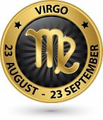Virgo Zodiac Gold Sign, Virgo Symbol Vector Illustration