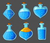 Collection of blue magical bottles. Vector illustration. Isolated on dark