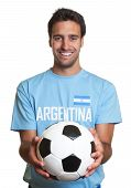 Laughing Argentinian Man With Football.