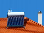 image of chimney  - Solar cells for ecological energy - JPG