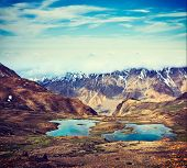 Vintage retro effect filtered hipster style travel image of mountain lakes in Spiti Valley in Himala