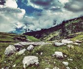 Vintage retro effect filtered hipster style travel image of mountain landscape in Himalayas. Kullu v