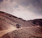 Vintage retro effect filtered hipster style travel image of Manali-Leh Road in Indian Himalayas with