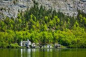 Castle at Hallst�?�?�?�¤tter See mountain lake in Austria. Salzkammergut region, Austria