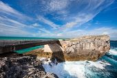 Glass window bridge on Eleuthera island Bahamas where Caribbean sea meets Atlantic ocean