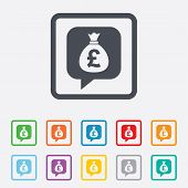 Money bag sign icon. Pound GBP currency.