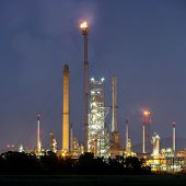 Panorama Oil Refinery Plant at night