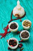varieties of dry,fragrant tea leaves