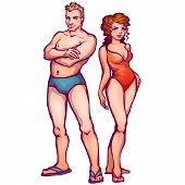 Vector illustration of man and women in swimsuit