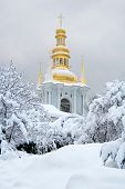 Monastery bell tower in the snow