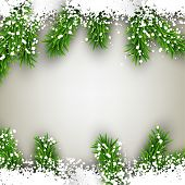 Abstract christmas background with fir and snowflakes. Vector illustration.