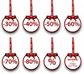 Sale and discount paper labels with red bows and ribbons. Vector.