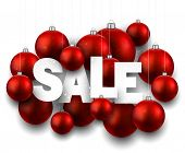 White sale sign with red christmas baubles. Vector holiday illustration.