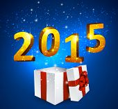 Opened 3d realistic gift box with golden 3d 2015 text. Vector illustration.