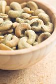 cashew nuts coated wasabi in bowl