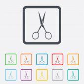 Scissors hairdresser sign icon. Tailor symbol.