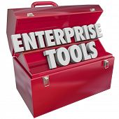 Enterprise Tools 3d words in metal toolbox to illustrate software, applications or other resources for managing needs of a business, company or organization