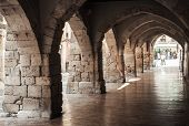 Old Stone Archway. Street Of Tarragona, Spain