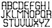 Industrial metal pipe alphabet letters, vector.