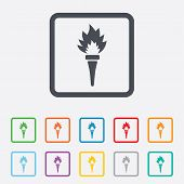 pic of flames  - Torch flame sign icon - JPG