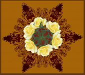 illustration with round rose decoration on brown background