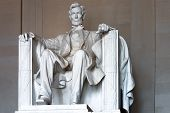 picture of abraham  - Abraham Lincoln statue to honor the 16th President of United States by the sculptor Daniel Chester French located at the Lincoln Memorial in Washington D.C.