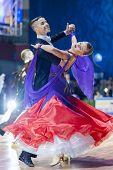 Minsk-belarus, October 19, 2014: Danila Shmidt-gumenyuk Alina Perform Youth-2 Standard European Prog