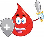Red Blood Drop Guarder Cartoon Mascot Character With Shield And Sword