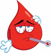 Sick Blood Drop Cartoon Mascot Character With Thermometer