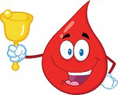 Red Blood Drop Cartoon Mascot Character Waving A Bell For Donation