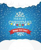 Christmas greeting card. Snowfall on Winter
