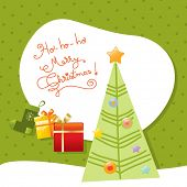 Vector merry christmas greeting card, christmas tree.