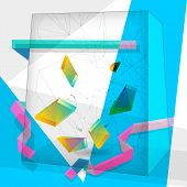 Vector abstract cube shape background, geometric illustration