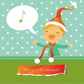 Vector merry christmas greeting card, singing girl.