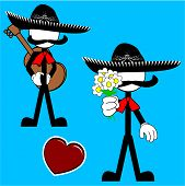 mexican mariachi pictogram cartoon flowers