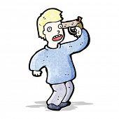 cartoon man with gun to head