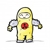 cartoon man in protective suit