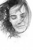 Creative double exposure portrait in monochrome
