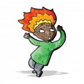 cartoon man with burning hair