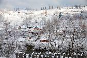 Winter day in the Village, Carpathian Mountains. Vorokhta, Ukraine