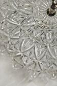 Close up of layered crystal serving dish