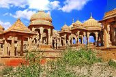 The royal cenotaphs in Jaisalmer,India