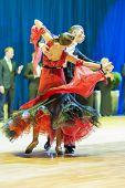 Minsk-belarus, October 19, 2014: Unidentified Dance Couple Performs Youth-2 Standard European Progra