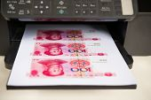 Printer With Rmb Paper Currency Coming Out