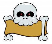 Skull Holding Blank Signboard