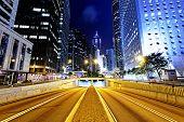 Modern city traffic night, Hong Kong, China.